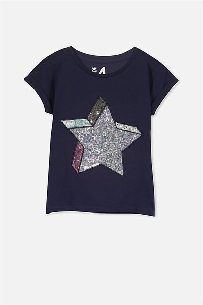 Anna Ss Stepped Hem, PEACOAT/SEQUIN STAR