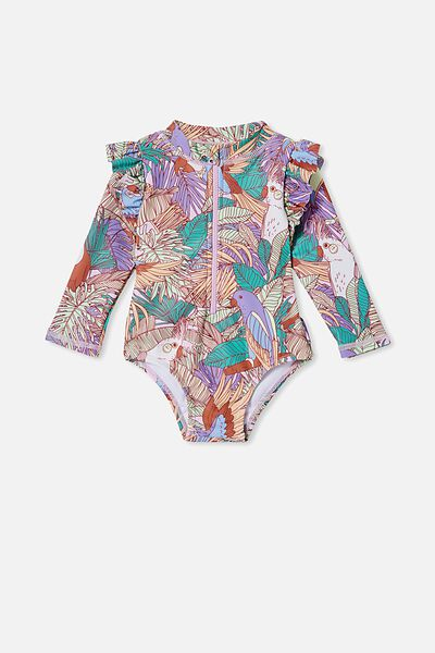 Lucy Long Sleeve Swimsuit, PALE VIOLET/TROPICAL BIRDS