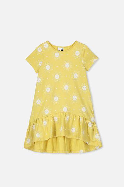 Joss Short Sleeve Dress, CORN SILK/SUNNY FACES