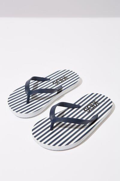 Printed Flip Flop, NAVY/WHITE STRIPE