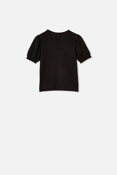 Jasmine Puff Sleeve Top, BLACK