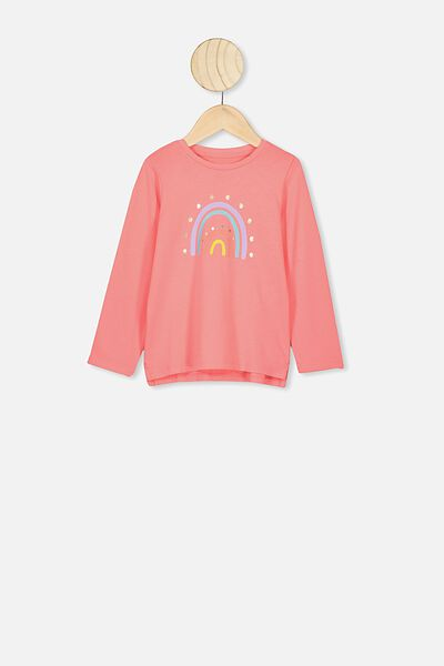 Penelope Long Sleeve Tee, RETRO CORAL/RAINBOW SPOTS