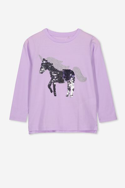 Stevie Ls Embellished Tee, BABY LILAC/REVERSE SEQUIN UNICORN/SET IN