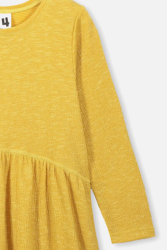 Freya Long Sleeve Dress, HONEY GOLD/TEXTURE