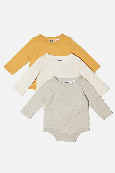 3 Pack Long Sleeve Bubbysuit, VINTAGE HONEY/CLOUD MARLE/VANILLA