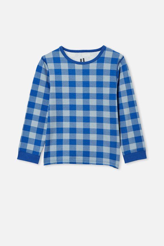 Orlando Long Sleeve Pyjama Set, BLUE GINGHAM/RETRO BLUE