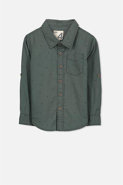 Noah Long Sleeve Shirt, DARK FOREST/STARS