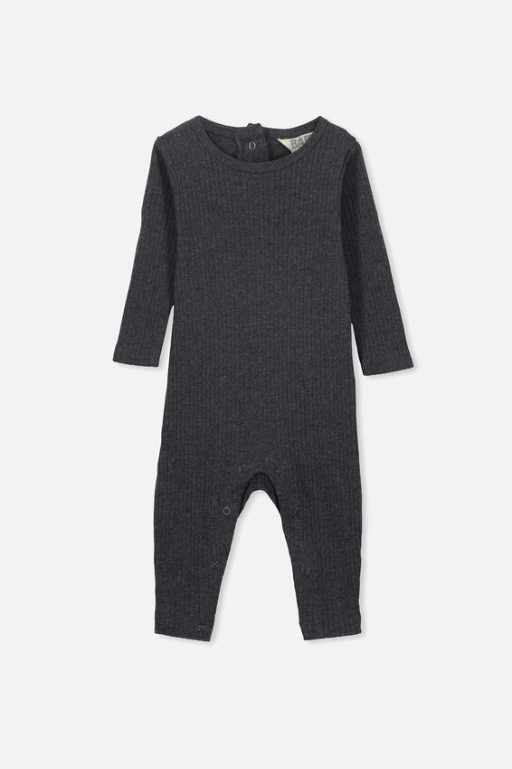 The Snug Rib Snap Romper, GRAPHITE MARLE