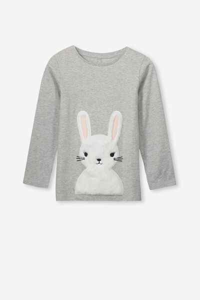 Anna Ls Tee, LIGHT GREY MARLE/ FURRY BUNNY