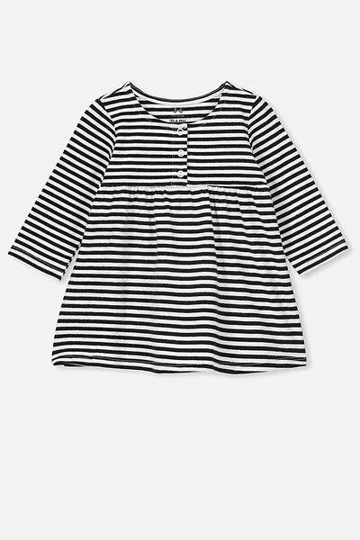 Molly Long Sleeve Dress, CHRIS STRIPE WHITE/BLACK