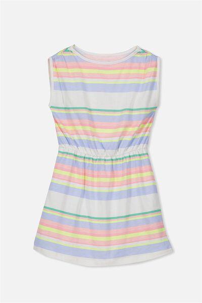 Cathy Short Sleeve Dress, VANILLA/SUMMER STRIPE