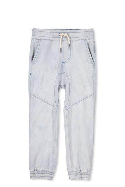 Bobby Denim Trackpant, MID BLUE/RIPS