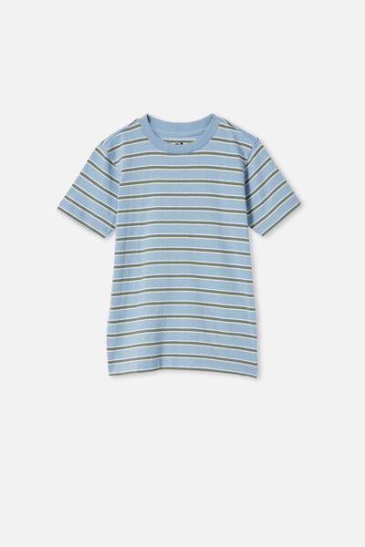 Max Skater Short Sleeve Tee, DUSTY BLUE / SWAG GREEN STRIPE