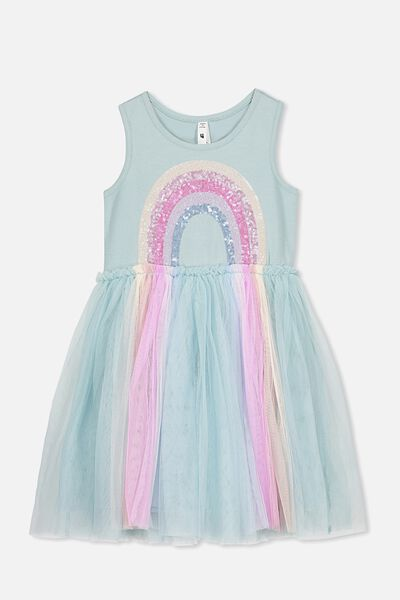Iris Tulle Dress, ETHER/RAINBOW HORIZON