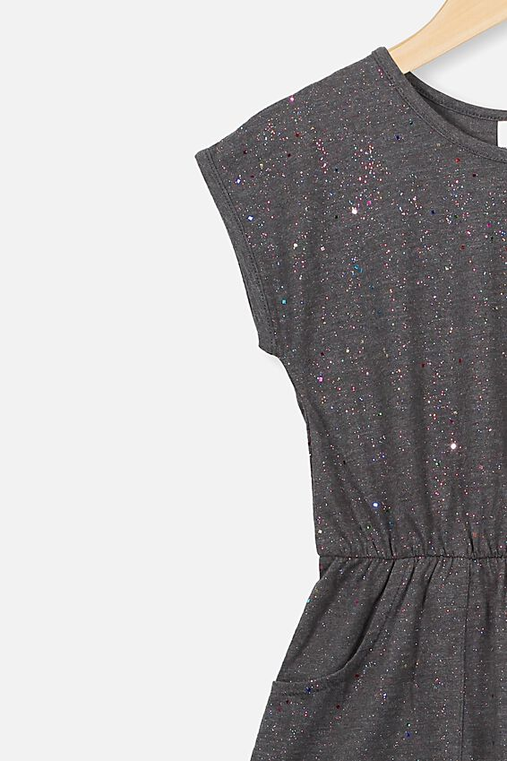Sigrid Short Sleeve Dress, CHARCOAL MARLE RAINBOW SPARKLE