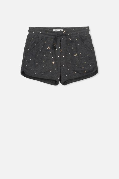 Nina Knit Short, CHARCOAL MARLE/ROSE GOLD UNICORN SPOT