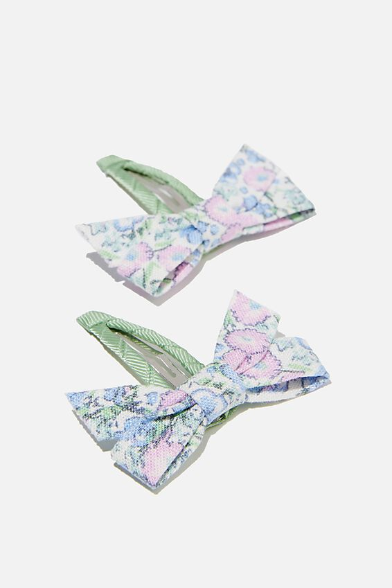 Hair Clips - Floral Bows, VANILLA VINTAGE FLORAL