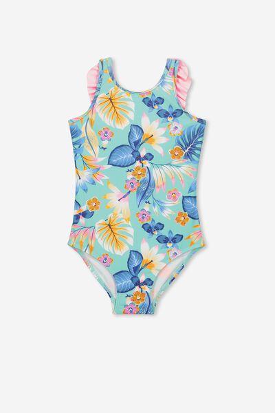 Ebony One Piece Swimsuit, FIJI SEA TROPICAL FLORAL