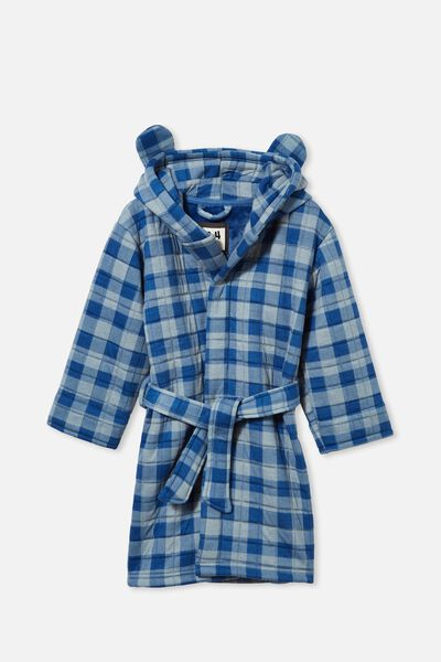Boys Quilted Jersey Long Sleeve Gown, BLUE GINGHAM/RETRO BLUE