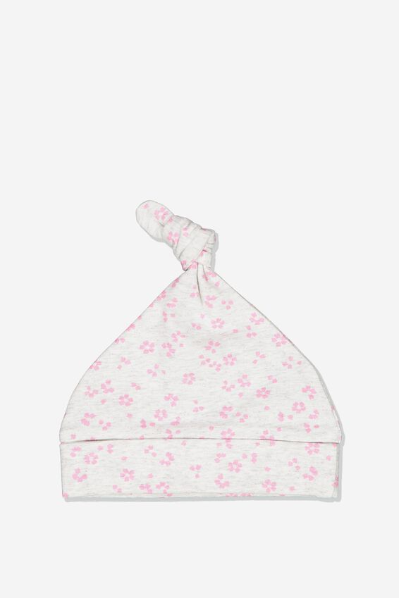 The Baby Beanie, SOFT GREY MARLE/EMMA FLORAL