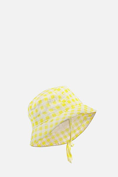 Baby Bucket Hat, YELLOW/GINGHAM