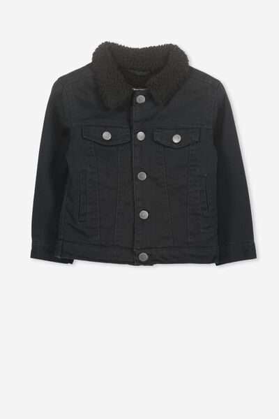 Jessie Sherpa Denim Jacket, WASHED BLACK