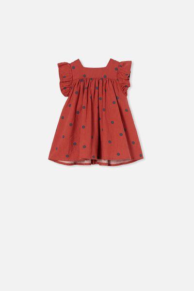 Betty Flannel Dress, RED BRICK/RABBIT GREY/OLLIE SPOT