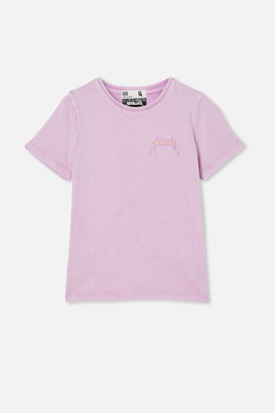 License Short Sleeve Tee, LCN PRO METALLICA/PALE VIOLET WASH
