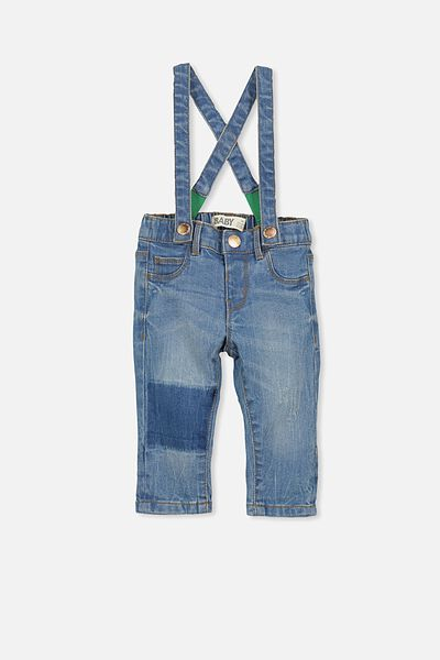 Arlo Denim Brace Pant, LIGHT BLUE DENIM