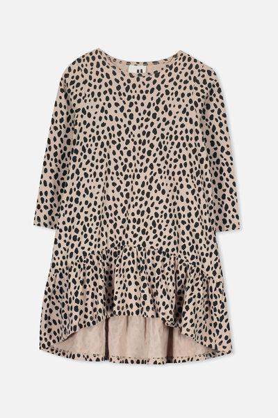 Joss Long Sleeve Dress, MUSHROOM/ANIMAL