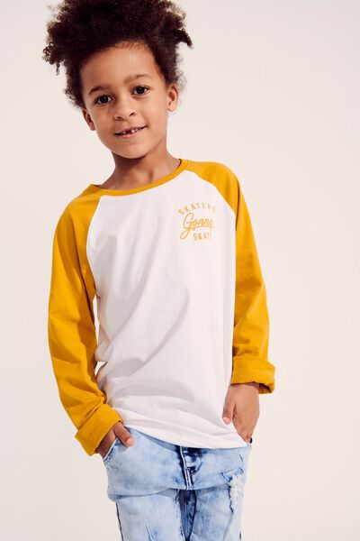 Tom Long Sleeve Raglan Tee, SKATERS GONNA SKATE/WHITE/HONEY/GOLD