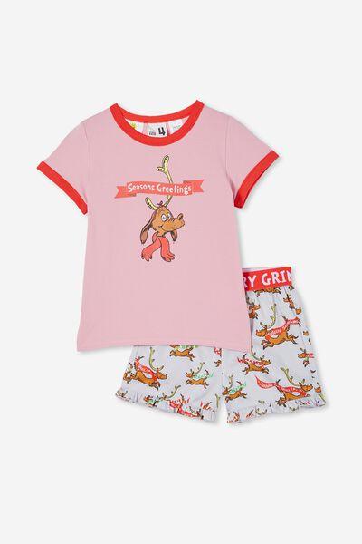 Noelle Kids Short Sleeve Pyjama Set Licensed, LCN DRS GRINCH MAX SEASON GREETING LIGHT GREY