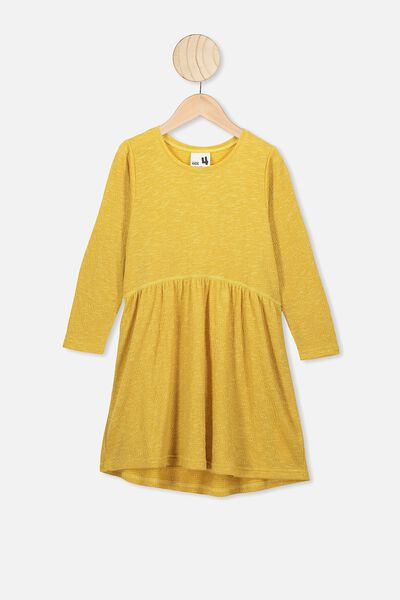 Freya Long Sleeve Dress, HONEY GOLD/TEXTURE