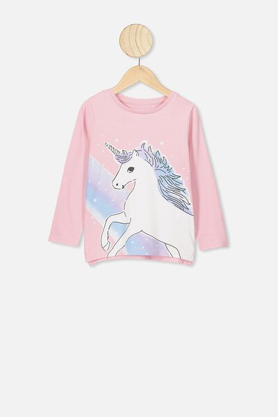 Penelope Long Sleeve Tee, MARSHMALLOW/UNICORN RAINBOW PANEL