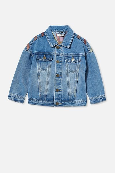 Emmy Oversized Denim Jacket, WEEKEND WASH/RAINBOW EMBROIDERY
