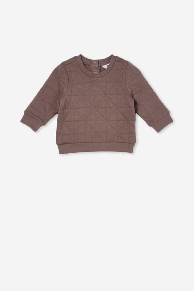 Greer Quilted Sweater, SMOKEY BROWN