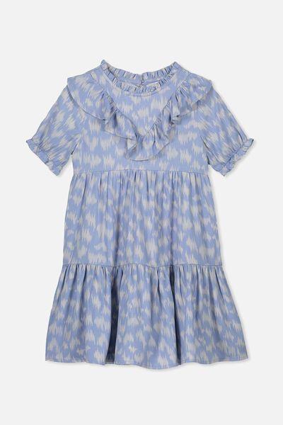 Laura Short Sleeve Dress, DUSTY BLUE/SKETCHY LEOPARD