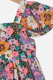 Cady Short Sleeve Dress, PHANTOM/POP FLORAL