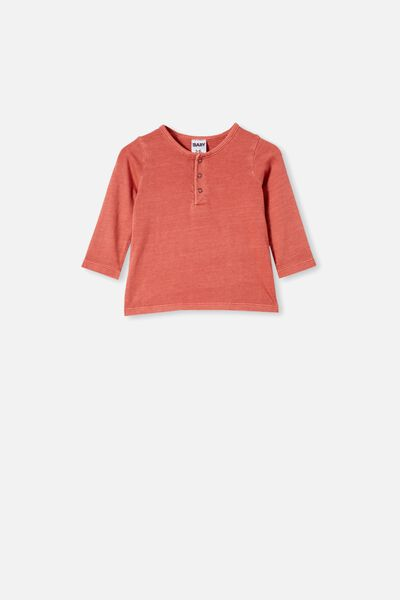 Denny Long Sleeve Top, RED BRICK WASH