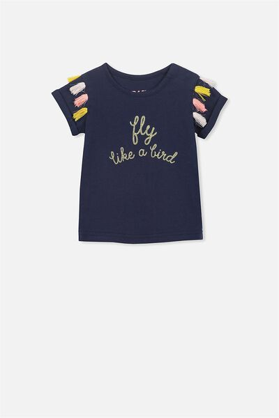 Ginger Ss Tee, PEACOAT/FLY LIKE A BIRD