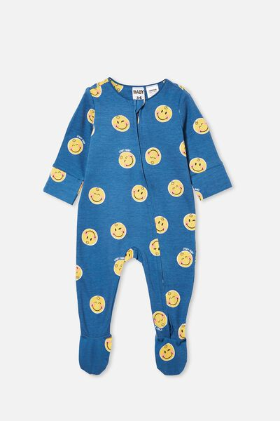 The Long Sleeve Zip Romper Lcn, LCN SMI PETTY BLUE/SMILEY BABY