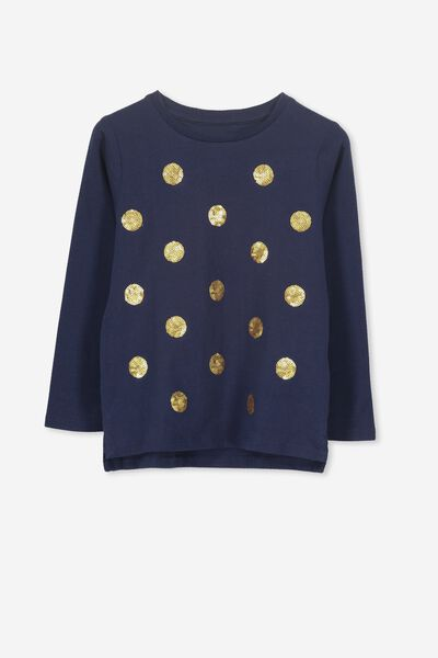 Stevie Ls Embellished Tee, PEACOAT/SEQUIN SPOTS
