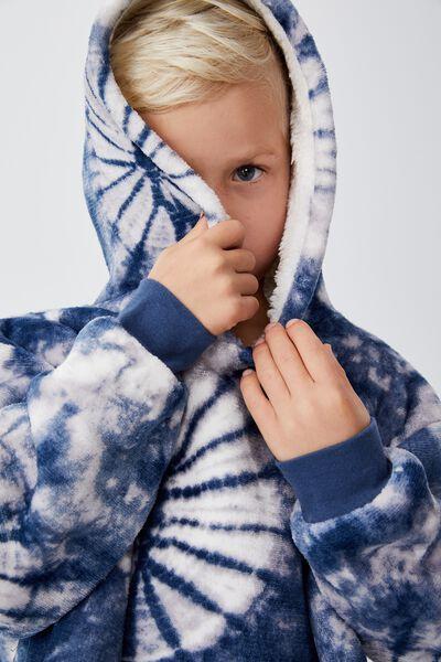Snugget Kids Oversized Hoodie, PETTY BLUE TIE DYE