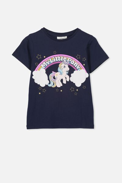 Lux Short Sleeve Tee, LCN HAS PEACOAT/MY LITTLE PONY RAINBOW/MAX