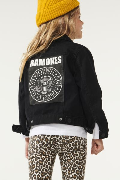 License Denim Jacket, LCN MT BLACK WASH/RAMONES