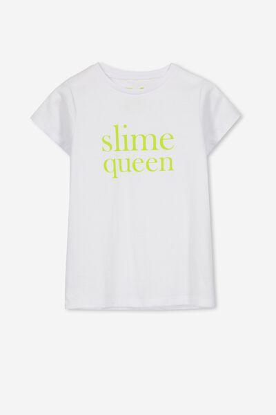 Penelope Short Sleeve Tee, WHITE/SLIME QUEEN/SET IN