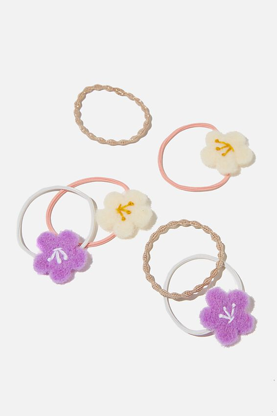 Hannah Hair Ties, PALE VIOLET FLOWERS