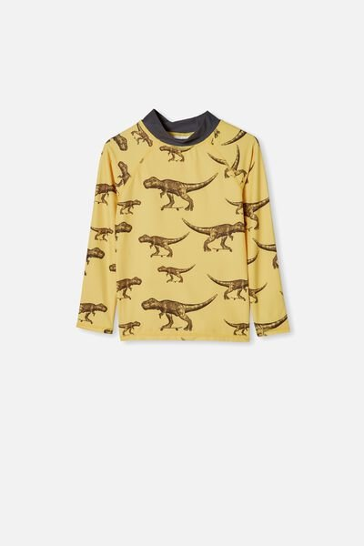 Flynn Long Sleeve Rash Vest, SUNSHINE YELLOW SKATE DINO
