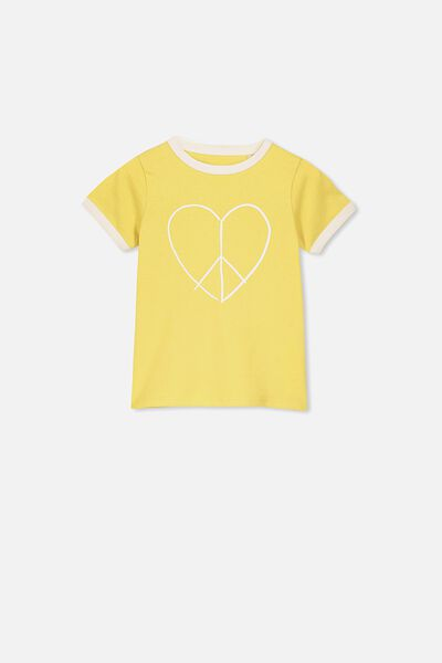 Penelope Short Sleeve Tee, CORN SILK/PEACE HEART/RINGER