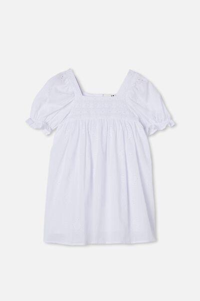 Lucinda Short Sleeve Dress, WHITE